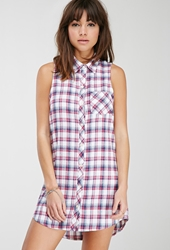 Forever 21 Plaid Flannel Shirt Dress White Pink