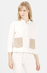 Topshop Suede Pocket Shirt White