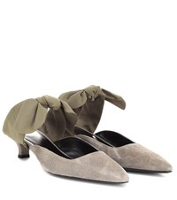 The Row Coco Suede Mules Green