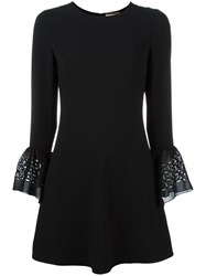 Saint Laurent Bell Sleeve Babydoll Dress Black