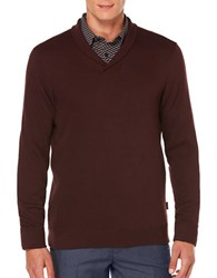 Perry Ellis Textured Cotton Blend Sweater Port Red