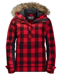Jack Wolfskin Timberwolf Plaid Hooded Pullover Jacket With Faux Fur Trim From Eastern Mountain Sports Ruby Red Check