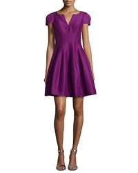Halston Tulip Skirt Split Neck Dress Magenta