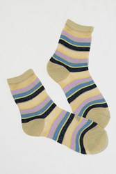 Becksondergaard Dagmar Metallic Striped Ankle Socks Blue Motif