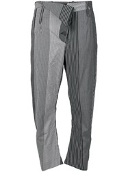 Lost And Found Ria Dunn Striped Cropped Trousers Grey