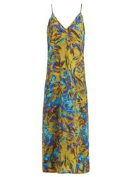 Raey Uv Floral Print Silk Slip Dress Blue Print