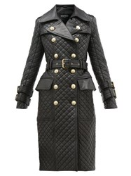 Balmain Double Breasted Quilted Leather Trench Coat Black