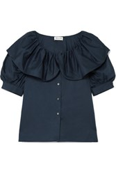 Paul And Joe Loulou Ruffled Cotton Blouse Navy