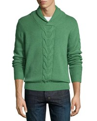 Neiman Marcus Cashmere Shawl Collar Cable Knit Pullover Grass