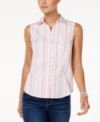 Charter Club Sleeveless Print Shirt Only At Macy's Crushed Coral Combo
