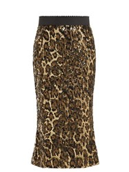 Dolce And Gabbana Leopard Print Sequinned High Rise Pencil Skirt Leopard