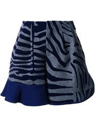 Kolor Animal Print Ruffle Shorts Blue
