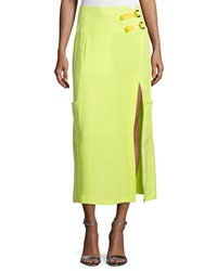 Cnc Costume National Mid Rise Midi Skirt W Slit Neon Women's