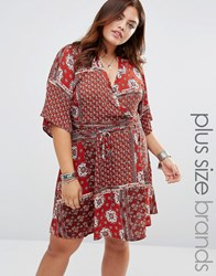 Alice And You Short Kimono Sleeve Tea Dress Multi