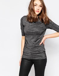 Brave Soul Glitzy High Neck Top Black
