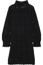 Vanessa Bruno Woman July Crochet Paneled Embellished Broderie Anglaise Crepe Mini Dress Black