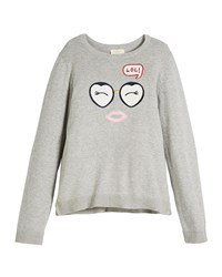 Kate Spade Lol Embroidered Long Sleeve Sweater Gray