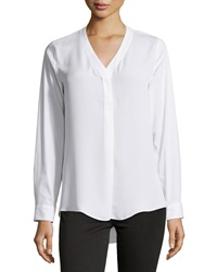 Laundry By Shelli Segal Contrast Front V Neck Blouse Optic White