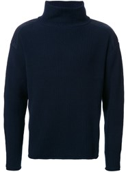 Factotum Ribbed High Neck Jumper Blue