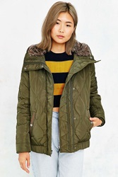 Levi's Quilted Fur Hood Jacket Green