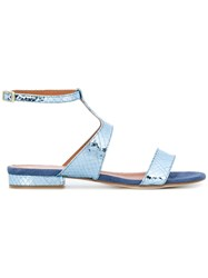 Via Roma 15 Snakeskin Effect Sandals Blue