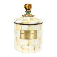 Mackenzie Childs Parchment Check Enamel Canister Neutral