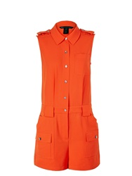 Marc By Marc Jacobs Irving Crepe Buttoned Playsuit Red Rust