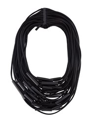 Monies Magnetic Clasp Tube Bead Multi Strand Cord Necklace Black