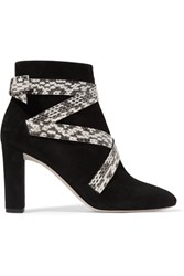 Jimmy Choo Heat Suede And Elaphe Ankle Boots Black