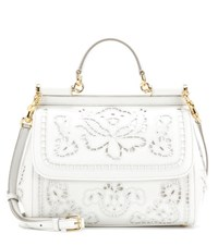 Dolce And Gabbana Sicily Medium Embroidered Leather Tote White