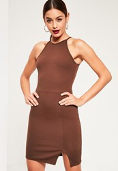 Missguided Brown 90S Neck Side Split Bodycon Dress