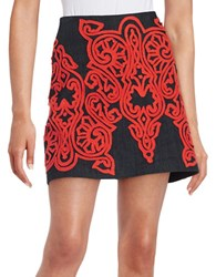 Guess A Line Flocked Mini Skirt Rinse