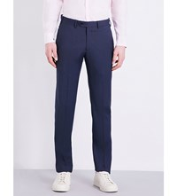 Armani Collezioni Regular Fit Micro Checked Wool Trousers Navy