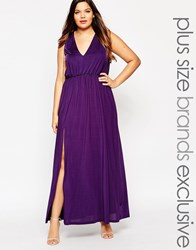 Truly You Plunge Front Sleeveless Maxi Dress Purple