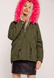 Missguided Pink Faux Fur Hooded Parka Coat Khaki