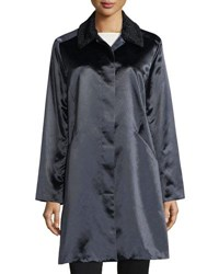 Jane Post Button Front Long Sleeve Satin Overcoat Navy