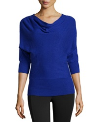 Neiman Marcus Drape Neck Knit Sweater Turkish Sea