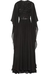 Elie Saab Embellished Tulle And Silk Chiffon Gown Black