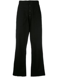 Rta Wide Leg Cropped Trousers Women Cotton 28 Black