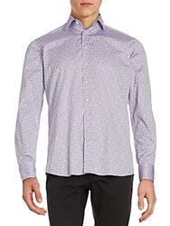 Etro Paisley Jacquard Cotton Button Down Shirt Lavender
