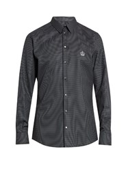 Dolce And Gabbana Diamond Jacquard Single Cuff Cotton Shirt Grey Multi