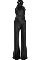Galvan Pandora Satin Jumpsuit Black