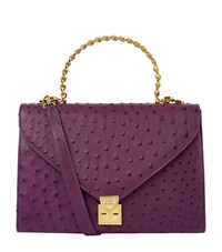 Lana Marks Frozen Chain Top Handle Ostrich Bag Female Purple