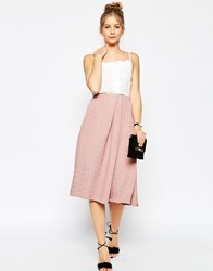 Asos Prom Midi Skirt In Texture Dusky Pink