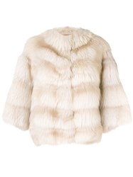 Liska Short Tarantula Coat Nude And Neutrals