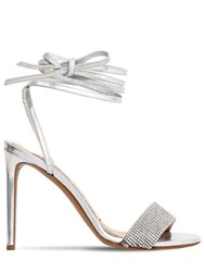 Alexandre Vauthier 100Mm Kim Leather Sandals W Crystals Silver