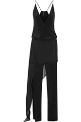 Michelle Mason Layered Chiffon Trimmed Silk Georgette Jumpsuit Black