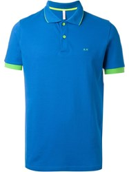 Sun 68 Collar And Sleeve Trim Detail 'Super Vintage' Polo Shirt Blue