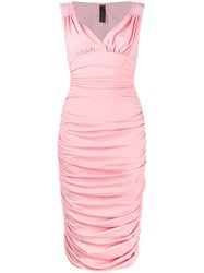 Norma Kamali Tara Draped Dress Pink
