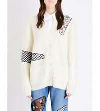 Christopher Kane Contrast Patch Knitted Cardigan Cream